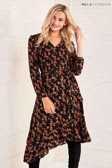 Mela London Ruffle Detail Belted Dress