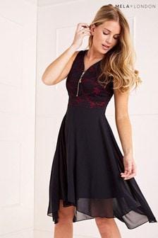 Mela London Lace Top High Low Dress
