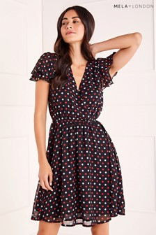 Mela London Polka Dot Ruffle Sleeve Dress