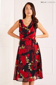 Mela London Cowl Neck Rose Print Dress