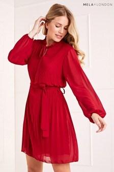Mela London Pleated Belted Dress