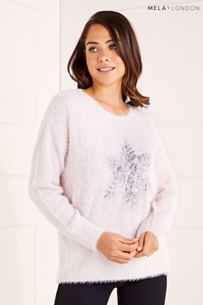 Mela London Snowflake Batwing Christmas Jumper