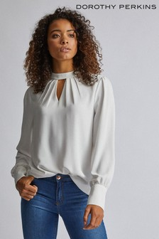 Dorothy Perkins Tall Pleat Neck Long Sleeve Top