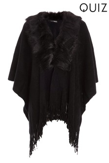 Quiz Faux Fur Knit Collar Cape