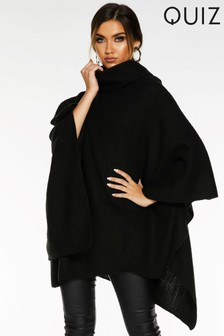 Quiz Knit Polo Neck Poncho