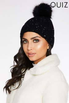 Quiz Sequin Faux Fur Pom Hat