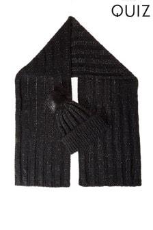 Вязаный блестящий шарф и шапка с помпоном из искусственного меха Quiz