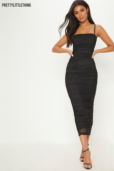 PrettyLittleThing Ruched Strappy Dress