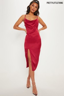 PrettyLittleThing Strappy Satin Cowl Neck Dress
