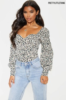 PrettyLittleThing Ruched Front Ditsy Floral Top