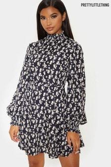 PrettyLittleThing High Neck Floral Print Dress