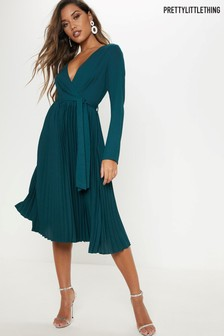 PrettyLittleThing Long Sleeve Pleated Midi Dress