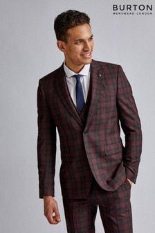 Burton Tartan Skinny Fit Suit Jacket
