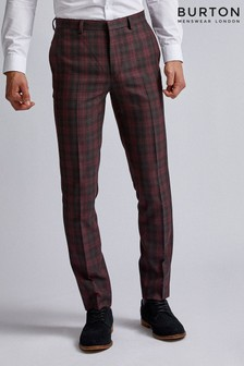 Burton Tartan Skinny Fit Suit Trouser