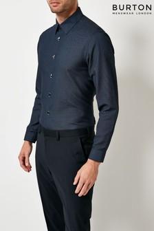 Burton Tailored Fit Long Sleeve Textured Shirt