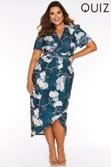 Quiz Curve Floral Chain Print Wrap Midi Dress