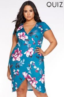 Quiz Curve Floral Cap Sleeve Wrap Dress