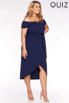 Quiz Curve V Bar Tie Belt Wrap Dress