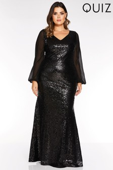 Quiz Curve Sequin Long Sleeve Maxi Dress
