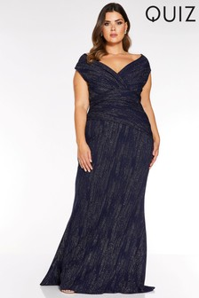 Quiz Curve Glitter Velvet Bardot Maxi Dress