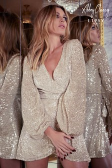 Abbey Clancy x Lipsy Sequin Wrap Mini Dress