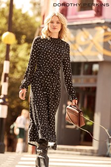 Dorothy Perkins Spot Print Ruffle Jersey Midi Dress