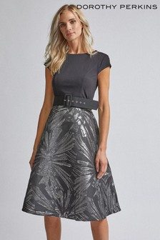 Dorothy Perkins Jacquard Bodice Midi Dress