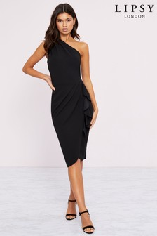 Lipsy One Shoulder Ruffle Midi Dress