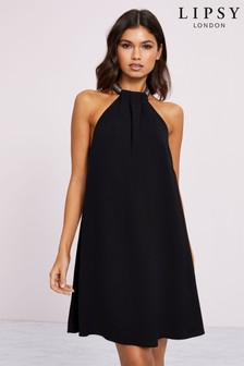 Lipsy Halter Embellished Shift Dress