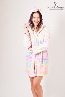 Want That Trend Deluxe Rainbow Unicorn Dressing Gown
