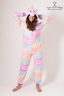 Want That Trend Deluxe Rainbow Unicorn Onesie