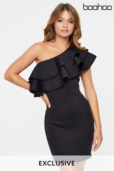 Boohoo Structured Asymmetric Shoulder Mini Dress