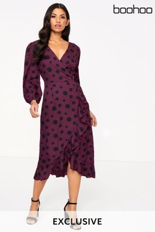 Boohoo Large Spot Wrap Dress
