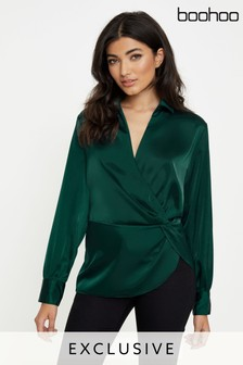Boohoo Twist Front Wrap Style Satin Blouse