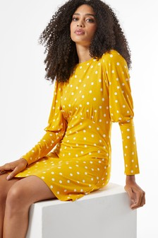 Dorothy Perkins Ochre Spot Puff Sleeve Fit And Flare Dress
