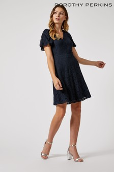 Dorothy Perkins V Neck Lace Fit And Flare Dress