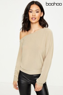 Boohoo Slinky Off Shoulder Long Sleeve Top