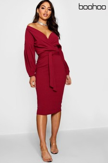Boohoo Off Shoulder Wrap Midi Dress