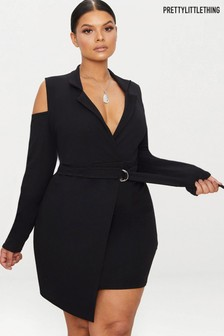 PrettyLittleThing Curve Cold Shoulder Ring Detail Blazer Dress