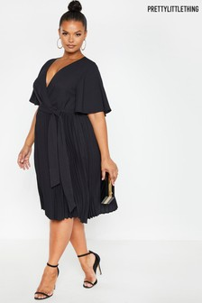 PrettyLittleThing Curve Angel Sleeve Pleated Midi Dress