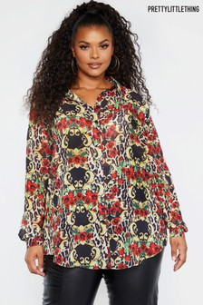 PrettyLittleThing Curve Animal Floral Print Shirt