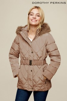 Dorothy Perkins Petite Taupe Diamond Quilted Coat