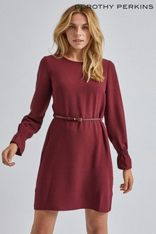 Dorothy Perkins Belted Shirred Cuff Dress
