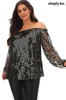 Simply Be Sequin Bardot Top