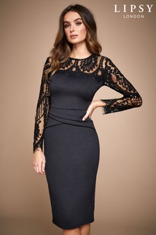 Lipsy Lace Long Sleeve Bodycon Midi Dress