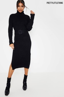 PrettyLittleThing Roll Neck Belted Knitted Dress