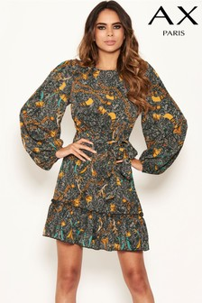 AX Paris Printed Frill Hem Dress