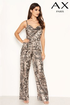 AX Paris Cowl Neck Snake Print Jumpsuit