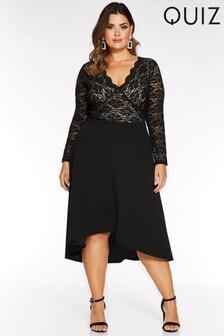 Quiz Curve Sequin Lace Scallop Long Sleeve Dip Hem Dress