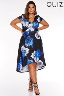 Quiz Curve Floral Wrap Front Dip Hem Dress